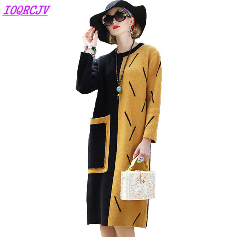 Knit Dress Womens Autumn Winter High quality Stitching Bottoming Dresses Large size Sweater Pullover Female Tops