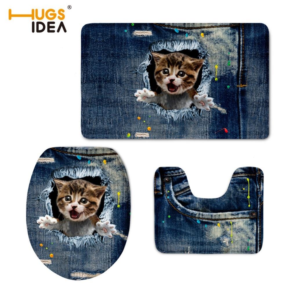 HUGSIDEA 화장실 뚜껑 부드러운 3D 변기 커버 귀여운 데님 동물 청바지 고양이 인쇄 욕실 따뜻한 변기 좌석 패드 세트 화장실 바닥 마루