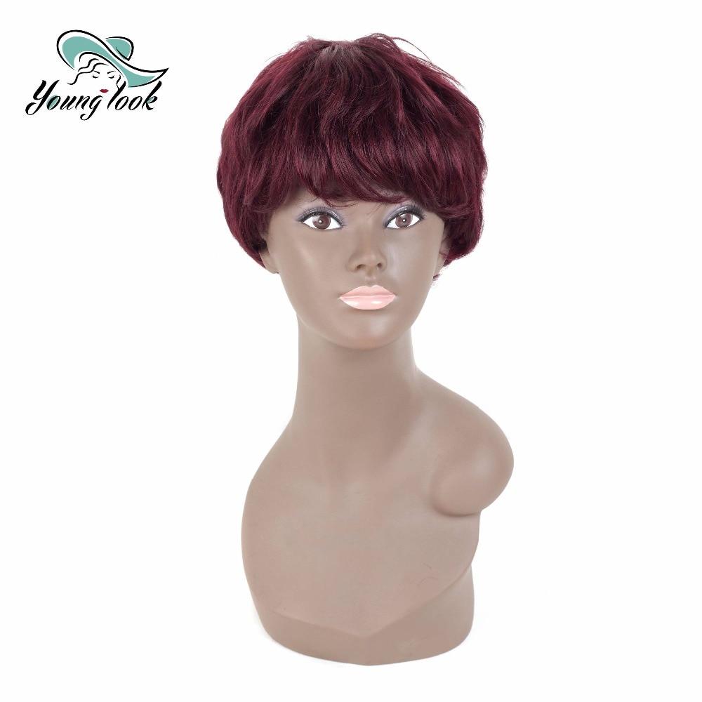 Young Look Natural Wave Human Hair Short Bob Wigs Human Hair Brazilian Natural Wave 130% Density 69G 3.5 Inch