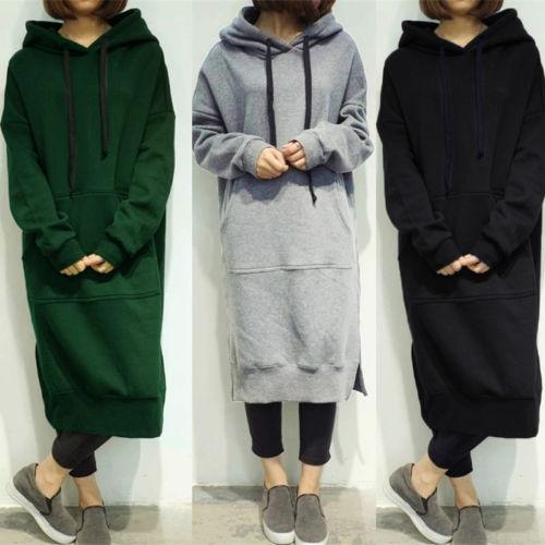 Plus Size Women Long Sleeve Loose Sweatshirt Hoodies Long Maxi Women Clothes Warm Autumn Winter Women Sweatshirts
