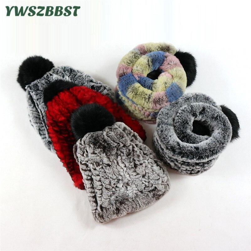 Véritable fourrure de lapin automne hiver enfants chapeau écharpe enfants bonnets Cap chaud velours enfants bébé écharpe garçons et filles bonnets Cap