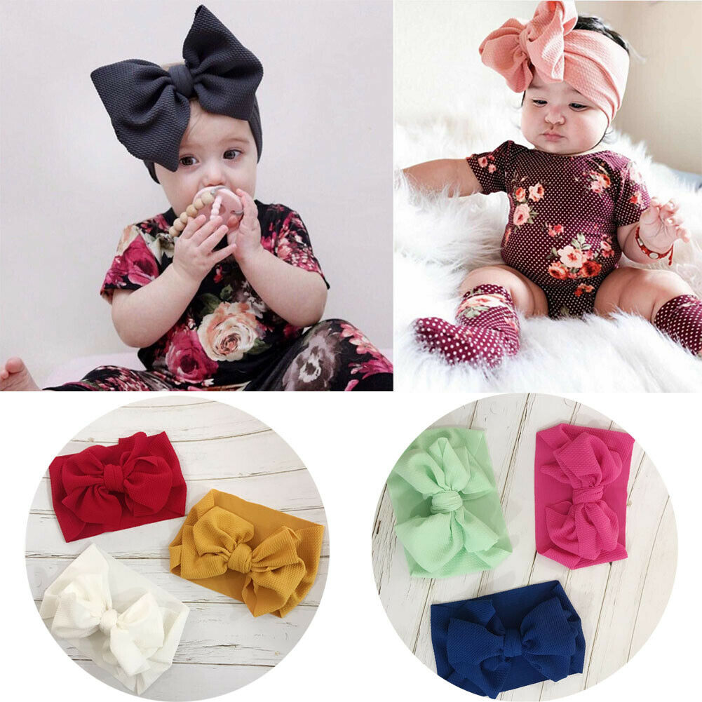 UK Baby Girl Hair Band Headband Hair Accessory Ribbon Elastic Headdress Headwrap