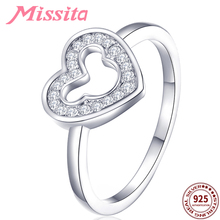 MISSITA 925 Sterling Silver Hollow Mickey Love Heart Pattern Finger Rings for Women  Wedding Ring Gift Brand Fashion Jewelry brand design lock red heart ring for women vintage copper jewelry five star finger rings luxury brand fashion love jewelry