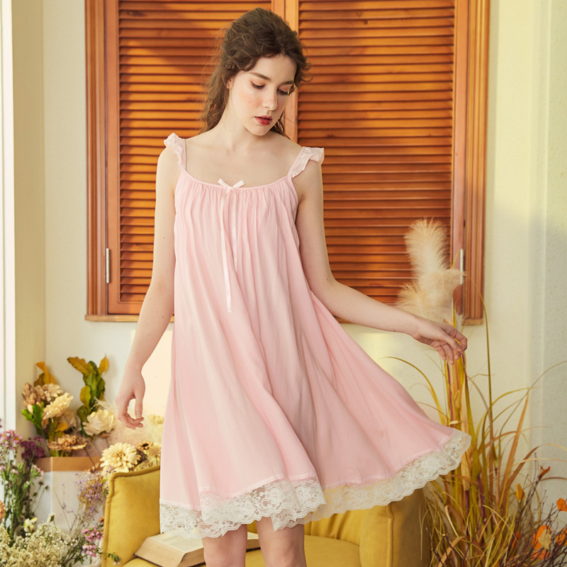 Spring Summer Women Cotton Long Nightdress Female Lace Sleepwear Nightdress Sweet Princess   Nightgown   Elegant   Sleepshirts