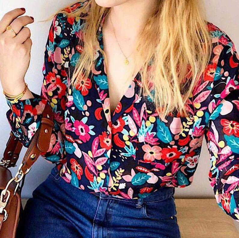 Women Shirt Chic Floral Printed V Neck Long sleeve Positano Shirt with Buttons