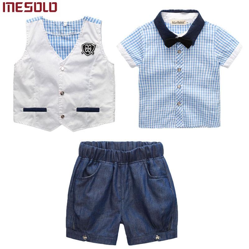 MESOLO Boy babykleding pak gentleman past 3 stks vest + T-shirt + - Kinderkleding