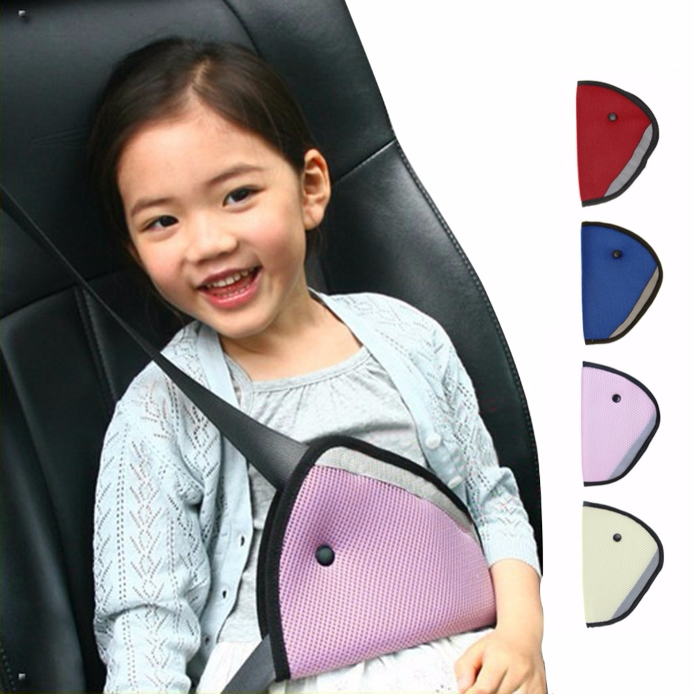 Triangle Baby Kids Car Safe Fit Seat Belt Adjuster Device Auto Safety Belt Cover Child Neck Protection Positioner Breathable