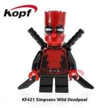Single Sale Super Heroes Red Yelllow Simpson Wild Deadpool Model Bricks Action Figures Building Blocks Children Gift Toys KF421