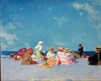 oil painting beach and Children Afternoon Fun by Edward Henry Potthast High quality Hand painted Landscape Art Home Decor