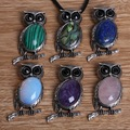 New Arrival 27x53mm Lapis Amethyst Opal Malachite Onyx Rose Quartz Antique Silver Owl Necklace Pendant