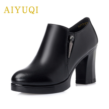Купить с кэшбэком AIYUQI 2019 new spring genuine leather women high-heeled shoes deep zipper waterproof platform fashion pumps brand shoes women