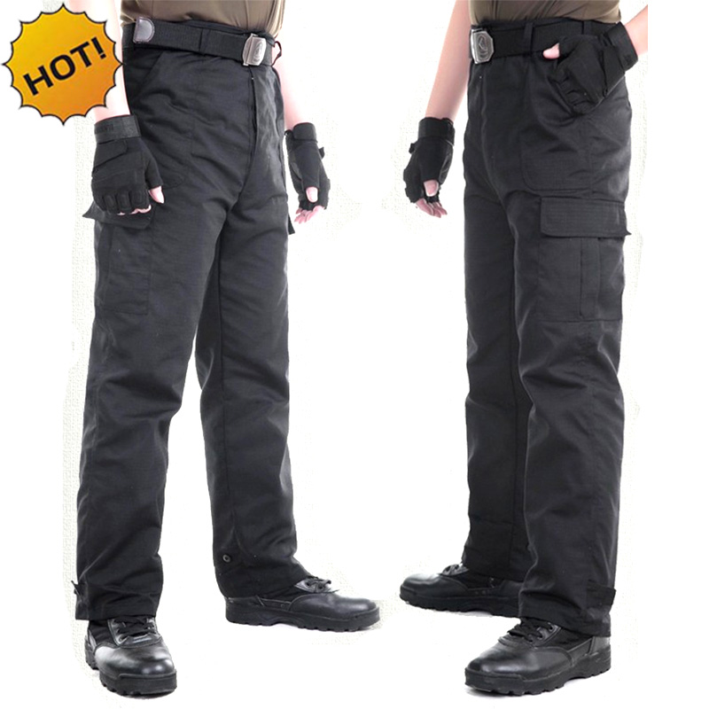 Outdoors Black Straight Multi Pocket Military Traning Commando Tactical Baggy Combat Overalls Army Cargo Pants Men