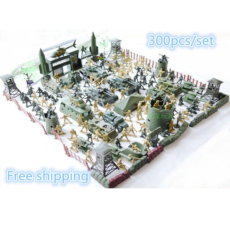 Set plastic toy small soldier boy sand table model toy Full 300pcs/set soldier Military Bases Set classic toys Free shipping все цены
