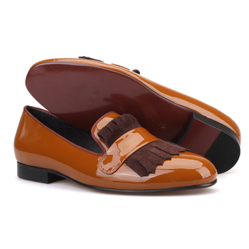 Patent Leather Handmade shoes with Classical Brogue Printing and Suede Fringe Party men loafers