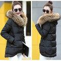 Alta Qualidade Falso gola de pele para baixo Parka de algodão jaqueta 2016 Jaquetas Jaqueta de inverno Mulheres grosso Casaco de Neve Desgaste Da Senhora do Sexo Feminino Parkas