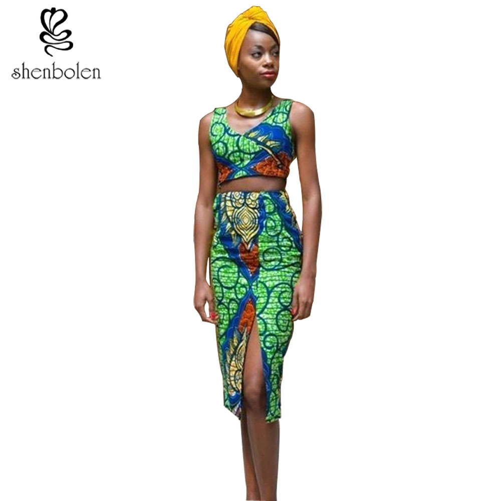 Africa Clothing 2017 Summer Dashiki Sexy Women Sets Top -2468