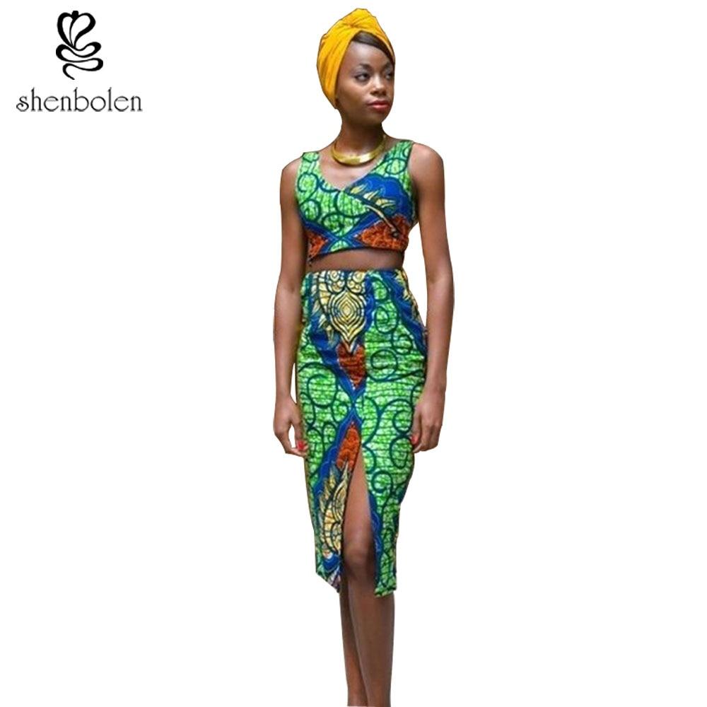42f88eec4b Afryki Odzież Dla kobiet dashiki sexy Kobiety Ustawia top + spódnica bez  rękawów Afrykańskich sukienki dla kobiet tradycyjne batik druku