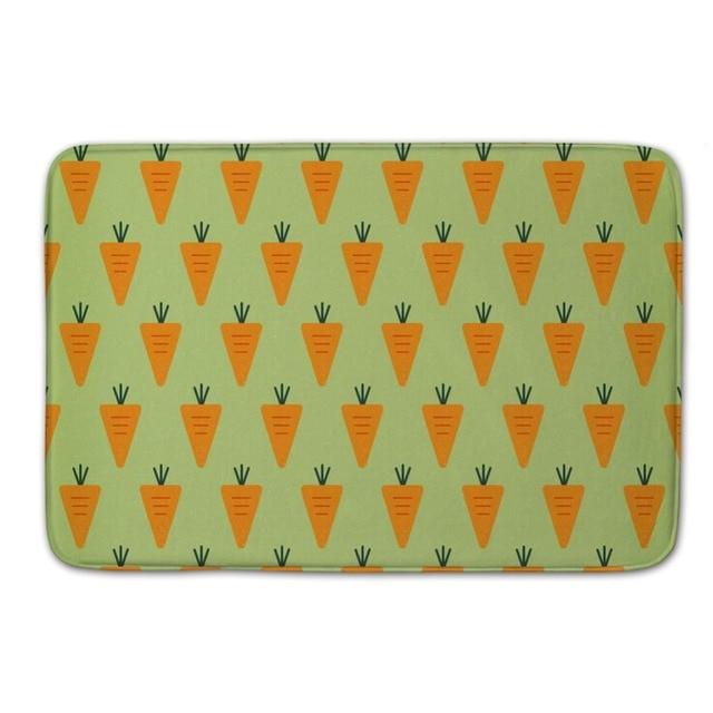 Carrot Printed Easy Clean Bathroom Carpet Cool Welcome Door Mats