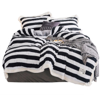 Super Cozy Thicken Flannel Bedding Set Soft and Warm Black/White Stripe Coral Velvet Duvet Cover Sets Bed Linen Set Pillowcase