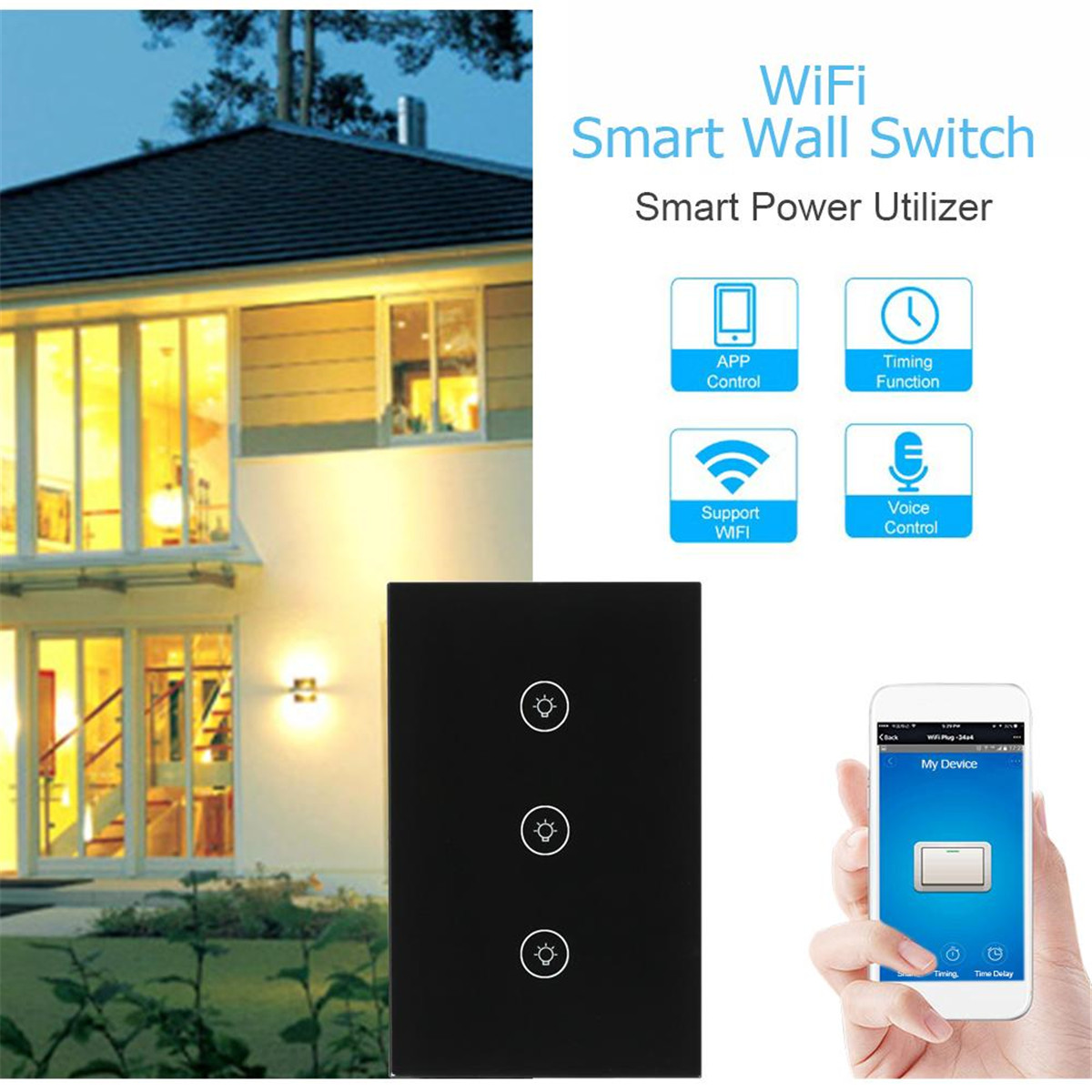 WiFi Smart Light Switch 1/2/3 Gang EU/UK/US Plug App Remote Control Wall Switch Work with Alexa/Google Black Intelligent Safety sonoff t1 us smart touch wall switch 1 2 3 gang wifi 315 rf app remote smart home works with amazon free ios and app ewelink