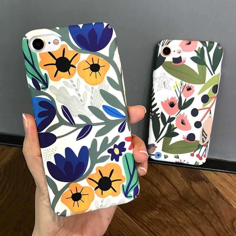 Colorful Flower Leaves Printed Matte Case For iPhone 7 6s 6 8 Plus Vintage Hard PC Full Protection Cover For iPhone X 8 6 6s 10