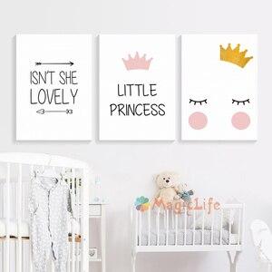 Image 2 - נסיכה קטנה משתלת קיר אמנות בד ציור נורדי פוסטר לילדים חדר Cuadros קיר תמונות קישוט ממוסגר
