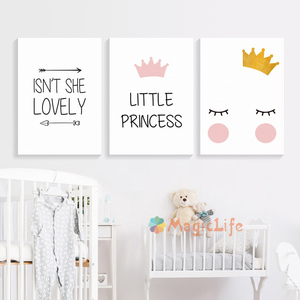Image 2 - Little Princess Nursery Wall Art Canvas Painting Nordic Poster For Children Room Cuadros Wall Pictures Decoration Unframed