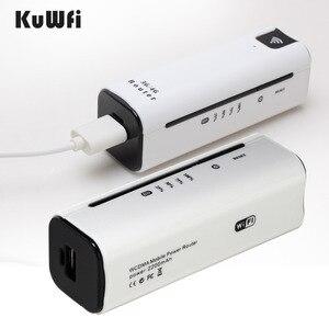 Image 2 - KuWFi 21.6Mbps kilidi açık seyahat 3G WIFI yönlendirici kablosuz akıllı mobil wifi router güç bankası sim kartlı router yuvası