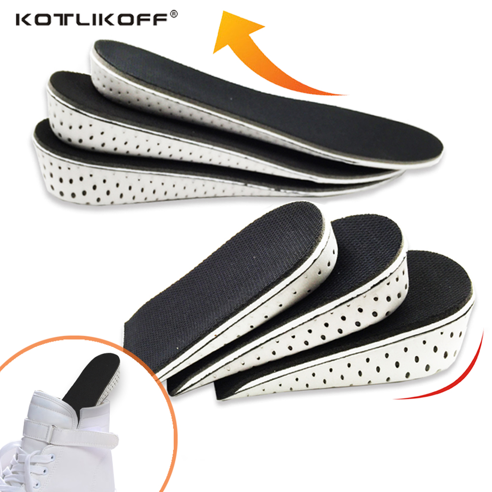 KOTLIKOFF Height increase Elevator insoles pads Memory Foam Heel Lift Inserts Soles for shoes Men Women Shoe foot pad Massage цена