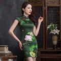 2016 Nova Moda de Verão Elegante Impressão de Lótus Cheongsam Cheongsams Seda Vestidos de Festa Fino Estilo Chinês Tradicional CS34