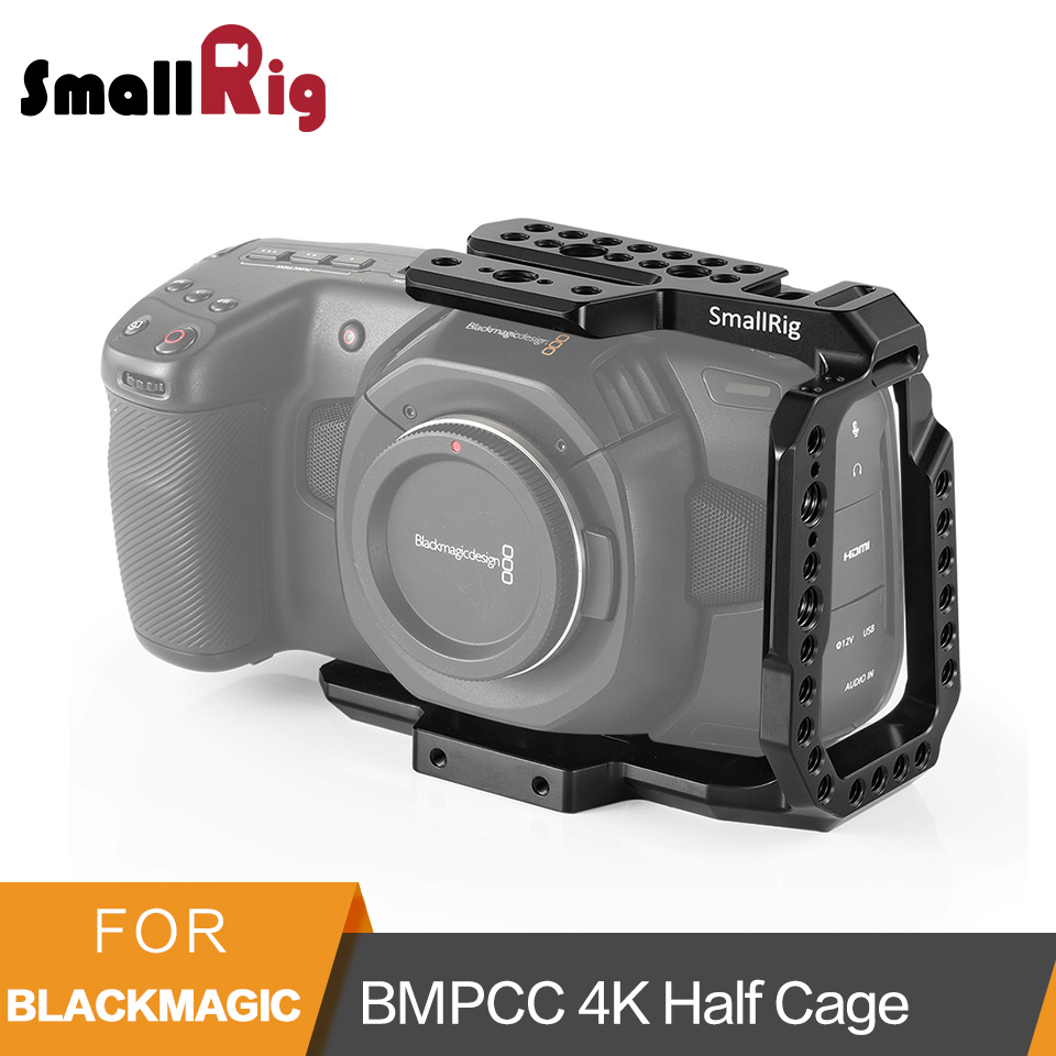 SmallRig BMPCC 4K Half Cage for Blackmagic Design Pocket Cinema Camera Cage With Nato Rail Arri Locating Hole Could Shoe - 2254