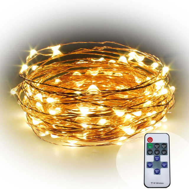 10m 100 33ft RF remote control dimmable LED copper wire string lamp ...