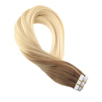 Moresoo Human Hair Extensions Tape in Hair Ombre and Balayage Color Hair Extension Tape Adhesive 20PCS Blonde Tape on Hair