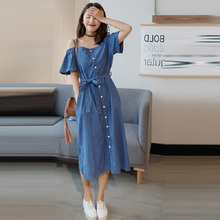 Denim Tunic Women Bandage Jeans Long Dress Cute Off Shoulder Jean Dress Fashion Korean Clothes все цены