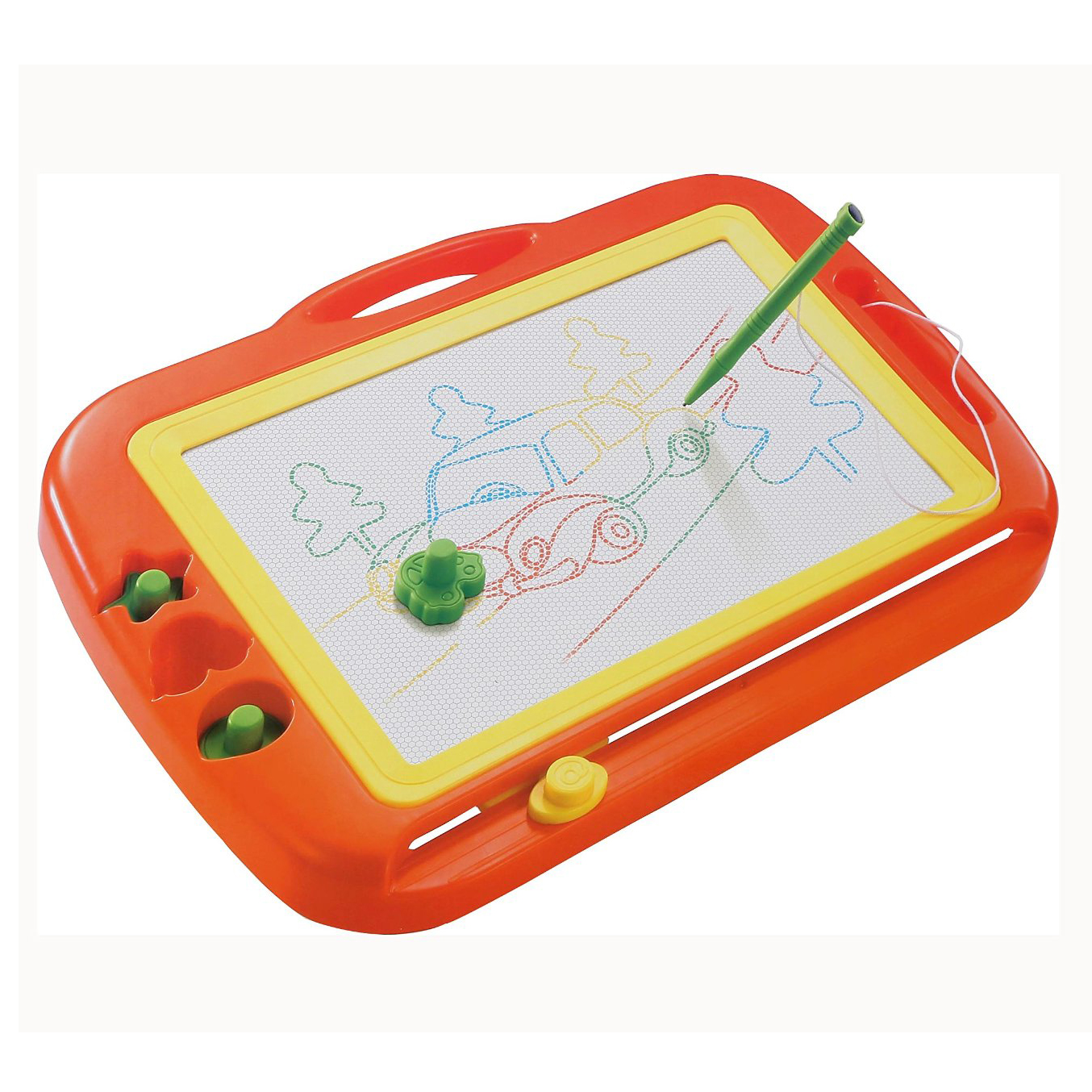 ABWE Magnetic Drawing Colorful Erasable Board Large Size Doodle Sketch Kids Educational Toys with Three Stamper Orange