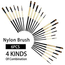 6Pcs Premium Different Shape Round Pointed Tip Watercolor Paint Brush Set for Drawing Watercolor Oil Painting Brush Art Supplies elegant paint brush shape sweater chain for women