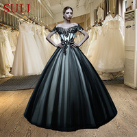 New Arrival ZXB035 Off The Shoulder A Line Appliques Black And White Wedding Dresses Bridal Gowns