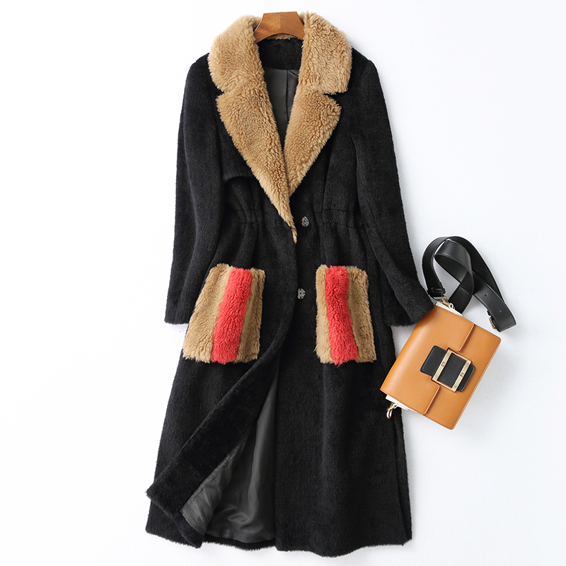 Mode Fourrure 2018 Longues Manteau De Nouvelles Black Cachemire Femmes Mince Peau Tondus D'hiver Épais Chaud Mouton Col Solide En Lc321 Vêtements 7B7gr