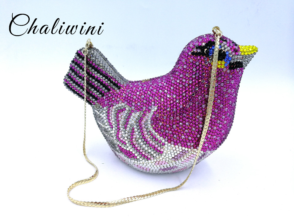 Fashion Animal Bird Women Luxury Crystal Bag Wedding Clutch Purse Rhinestone Evening Bag Clutch Handbag Lavender Party handbag