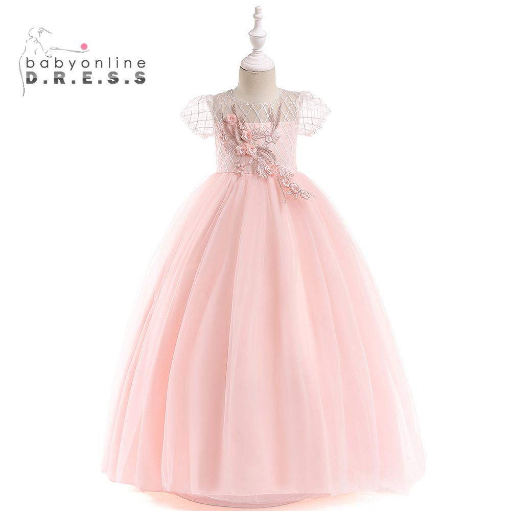Babyonline Soft Tulle Pink   Flower     Girl     Dresses   2019 Short Sleeves Floral Feather First Communion   Dresses     Girls   Pageant   Dress