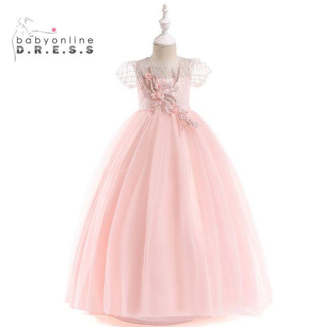 Babyonline Tule Macio Rosa Da Menina de Flor Vestidos 2019 Mangas Curtas Floral Pena Primeira Comunhão Vestidos Meninas Pageant Vestido