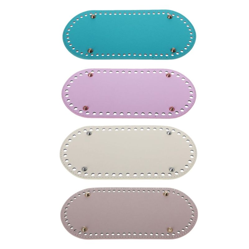 New 1 Pc Oval Long Bottom For Knitting Bag PU Leather 60 Holes Women Bags Handmade DIY Craft Replacement Bag Accessories