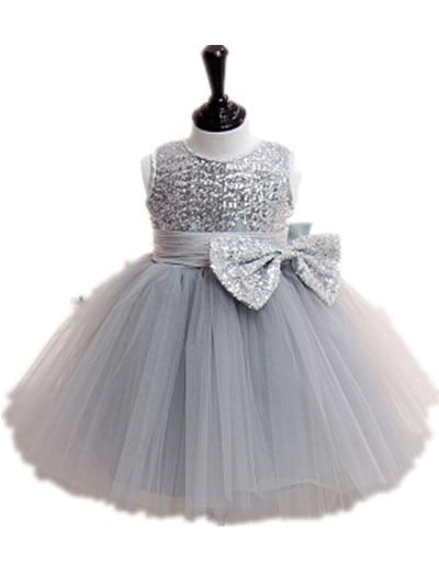 BABY WOW Baby Gilr Clothes Gray Sequins Sleeveless Vestidos Christmas Wedding Party Dresses for Vestido Festa