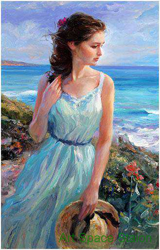 Beautiful Woman By Seaside Painting Vladimir Volegov -8326