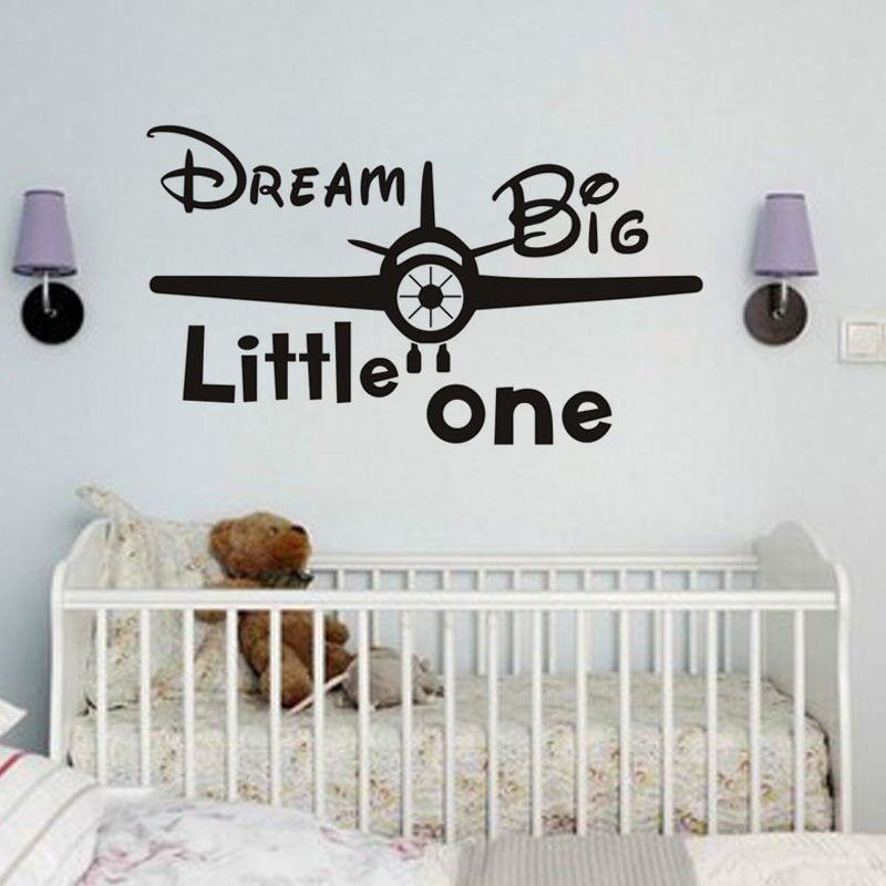 Us 5 66 29 Off Cartoon Airplane Vinyl Wall Decals Dream Little One Quotes Boy Nursery Decal Removalbe Decor Baby Room H287 In