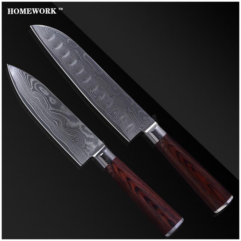 Buy Luxury Damascus Knives Set 7 Inch Santoku 6 Inch Chef Knife Kitchen Knives