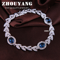 ZHOUYANG Top Quality ZYH047 Olive Branch Blue Crystal Silver Color Bracelet Jewelry Austrian Crystals Wholesale