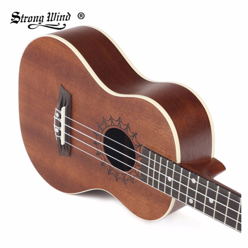 26 Inch Soprano Ukulele Acoustic Sapele 4 Nylon Strings Guitar Handmade Rosewood Fingerboard Instrument for Beginners send gifts zebra professional 24 inch sapele black concert ukulele with rosewood fingerboard for beginner 4 stringed ukulele instrument