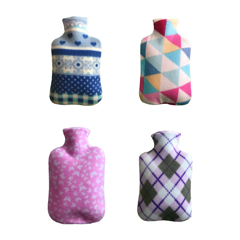 4 - Color Large One Side Fleece Cloth Cover For 2000ML Hot Water Bottles Explosion - Proof Rubber Hot Water Bottle Removable leakage proof straw cap for drinking bottles 2 7cm random color