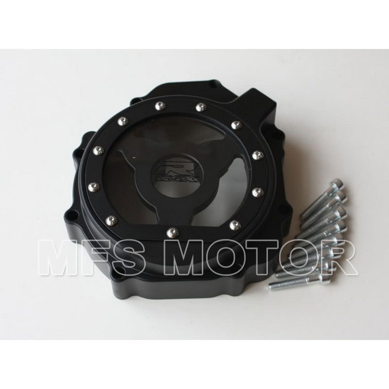 motorcycle parts Left Billet Engine Stator cover see through For Suzuki GSXR600 750 2004 2005 GSXR1000 2003 2004 2005 Black aftermarket free shipping motorcycle accessories engine stator cover see through for suzuki 2004 gsxr600 750 1000 left black